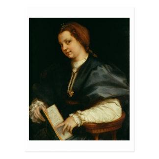Carte Postale Madame avec le livre du vers par Petrarch, c.1514
