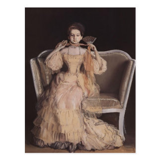 Carte Postale Madame de Konstantin Somov- dans le rose