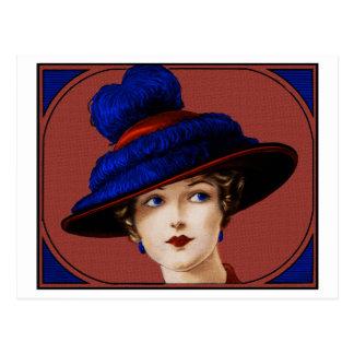 Carte Postale Madame d'Edwardian - Bourgogne et casquette bleu