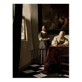 Carte Postale Madame écrivant une lettre avec sa domestique,