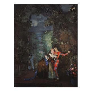 Carte Postale Madame et harlequin de Konstantin Somov-