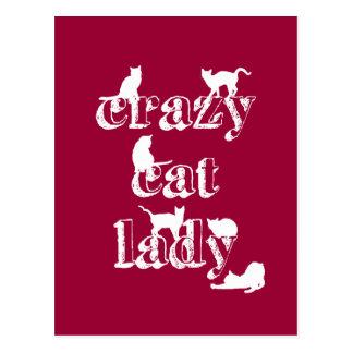 Carte Postale Madame folle de chat