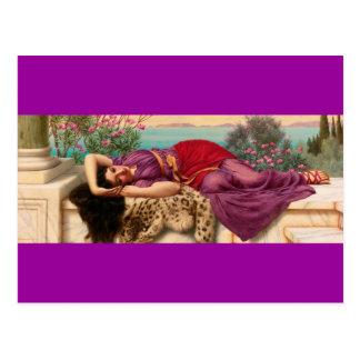 Carte Postale Madame grecque étendue - Godward