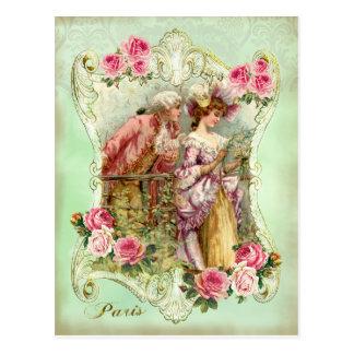 Carte Postale Madame rose Postcard d'amants rococos de Marie