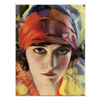 Carte Postale Madame rouge de gitan d'écharpe