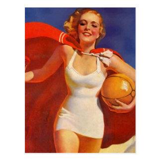 Carte Postale Madame vintage PC de vacances de voyage de plage