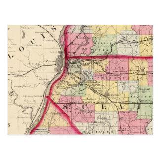 Carte Postale Madison, St Clair, comtés de Monroe