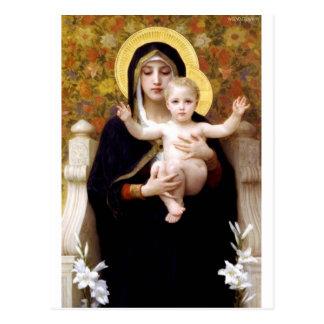 Carte Postale Madona avec la peinture antique de Bouguereau de
