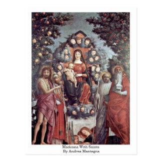 Carte Postale Madonna avec des saints par Andrea Mantegna