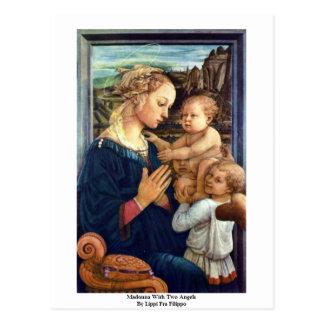 Carte Postale Madonna avec deux anges par Lippi ATF Filippo