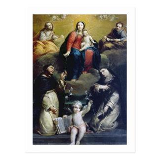 Carte Postale Madonna du chapelet avec solides solubles