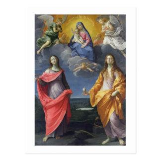 Carte Postale Madonna et enfant avec St Lucy et Mary Magdalene