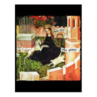 Carte Postale Madonna tenant la licorne blanche