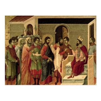 Carte Postale Maesta : Jésus avant Herod, 1308-11
