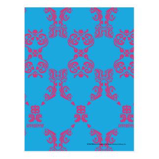 Carte Postale Magenta-Aqua de damassé