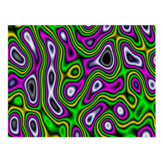 Carte Postale Magenta de vert jaune de labyrinthe de fractale
