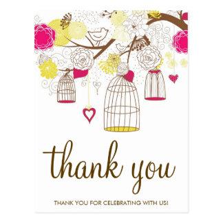 Carte postale magenta et jaune de Merci de cages à