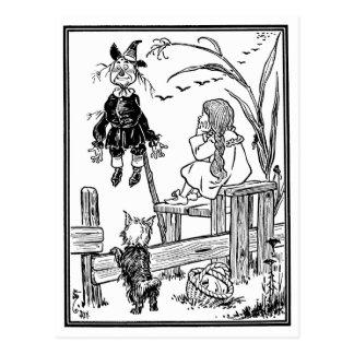 Carte Postale Magicien d'Oz vintage, épouvantail de