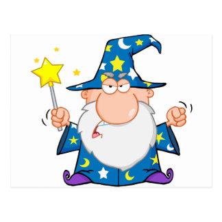 Carte Postale Magicien fâché ondulant avec la baguette magique
