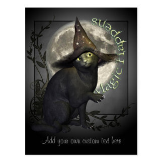 Carte postale magique de chat noir
