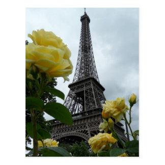 Carte postale magnifique de Paris de roses jaunes