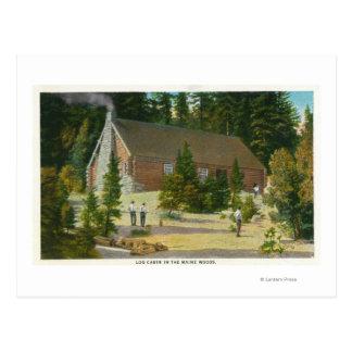 Carte Postale MaineView d'un cabine de rondin dans les bois du