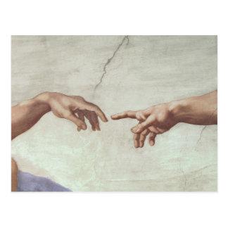 Carte Postale Mains de Dieu et d'Adam