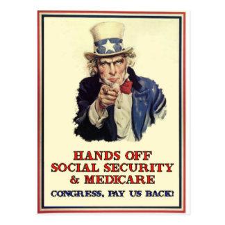 Carte Postale Mains outre de la sécurité sociale
