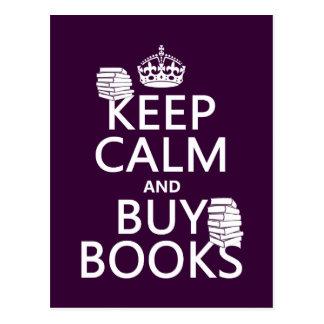 Carte Postale Maintenez calme et achetez les livres (dans toute