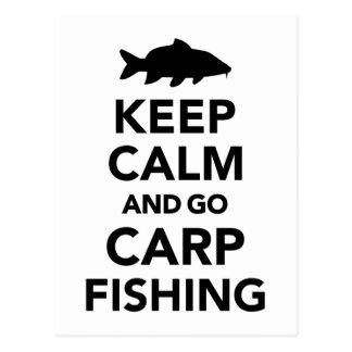 Carte Postale Maintenez calme et allez pêche de carpe
