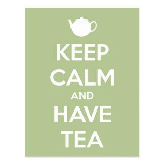 Carte Postale Maintenez calme et ayez le vert sauge de thé