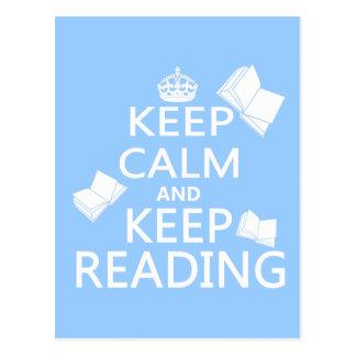 Carte Postale Maintenez calme et continuez la lecture