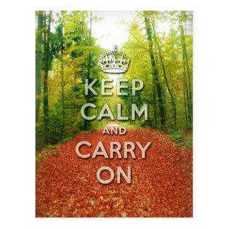 Carte Postale maintenez calme et continuez la saison d'automne