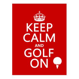 Carte Postale Maintenez le calme et le golf dessus - disponibles