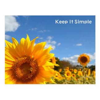 Carte Postale Maintenez-le simple avec des tournesols