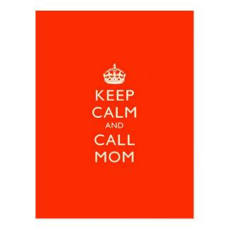 Carte Postale Maintenez maman calme et d'appel