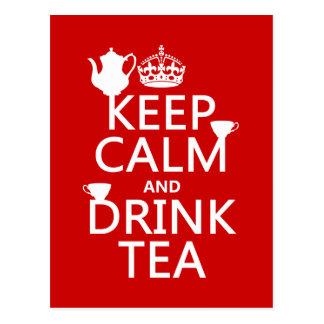Carte Postale Maintenez thé calme et de boissons - toutes les