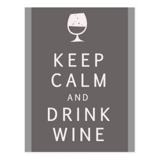Carte Postale Maintenez vin calme et de boissons