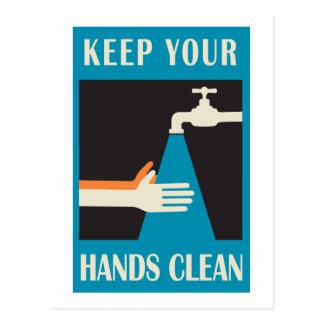 Carte Postale maintenez vos mains propres