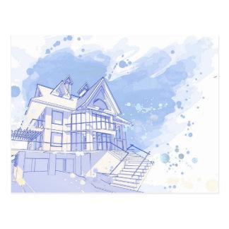 Carte Postale maison : aspiration d'aquarelle