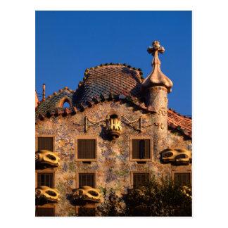 Carte Postale Maison Batilo, architecture de Gaudi, Barcelone,