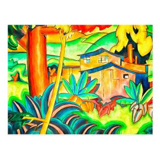 Carte Postale Maison colorée d'art vintage de Honolulu Hawaï
