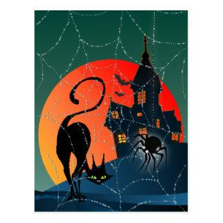 Carte Postale MAISON, WEB et CAT HANTÉS par SHARON SHARPE