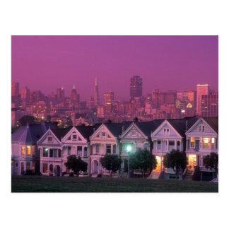Carte Postale Maisons de rangée au coucher du soleil à San