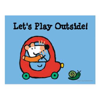 Carte Postale Maisy conduit une voiture rouge mignonne