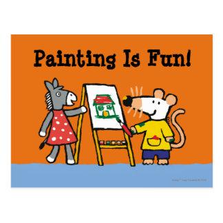 Carte Postale Maisy et peinture pointillée à l'école maternelle