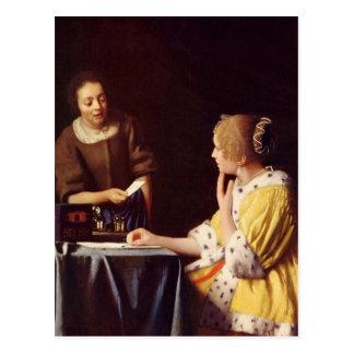 Carte Postale Maîtresse et domestique par Johannes Vermeer