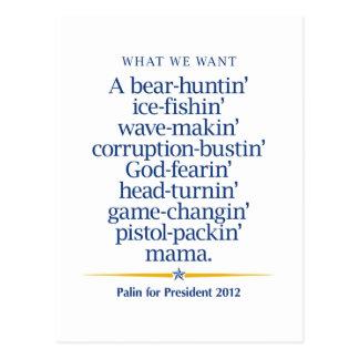Carte Postale Maman de packin de pistolet de Sarah Palin