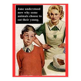Carte Postale Maman fâchée et gâteau d'image vintage
