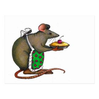 Carte Postale Maman mignonne Rat With Pie : Dessin : Crayon de